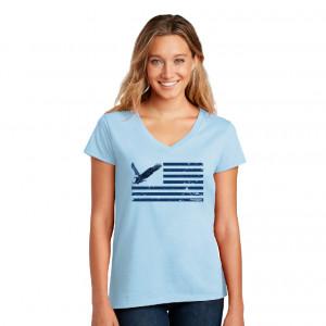 Ladies' Eagle and Stripes Blue Tee
