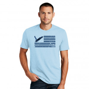 Men's Eagle and Stripes Blue Tee